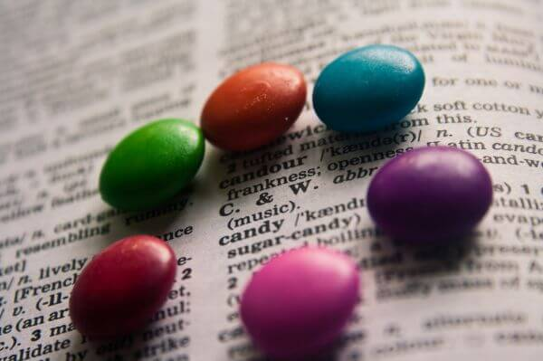 Colorful Candies On Book photo