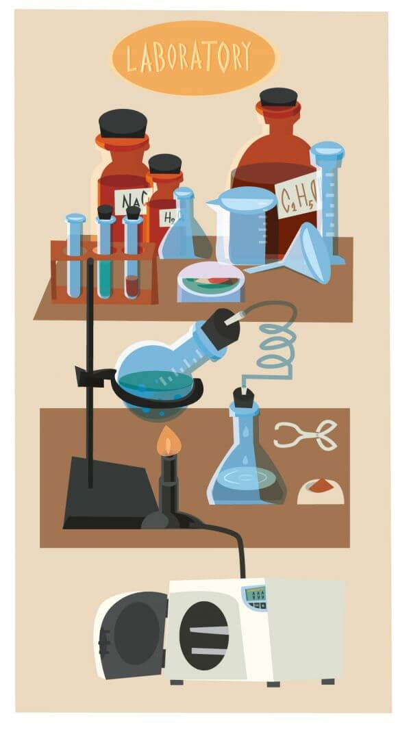 Chemical objects and tubes illustration vector vector