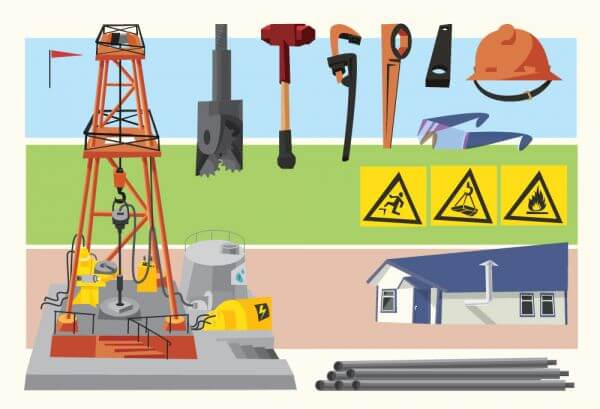 Oil objects landscape and equipment. Vector illustration vector