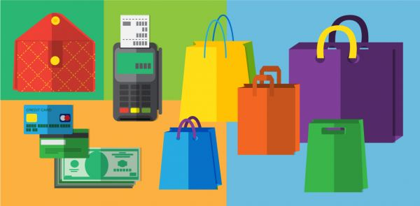 Shopping objects illustration for design vector