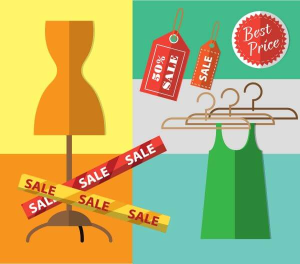 Shopping objects illustration for design