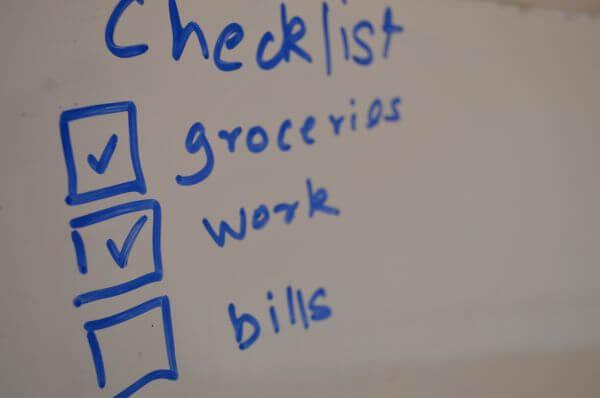 White Board Checklist Blue photo