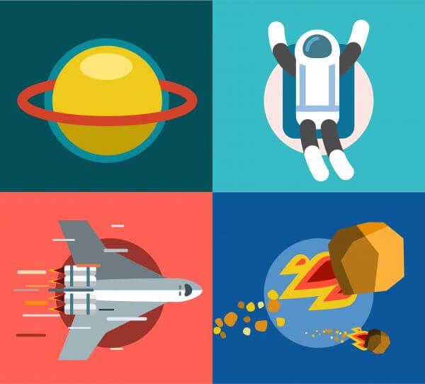 Collection of spaceships and planets, space vector illustration vector
