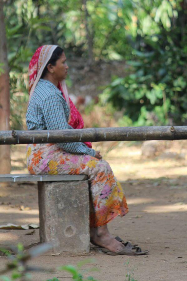 Indian Village Woman Sitting photo
