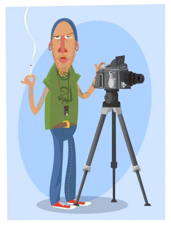 Photographer with equipment at work. Vector illustration vector
