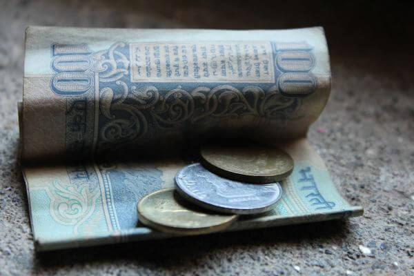 Hundred Rs Note And Coins India photo