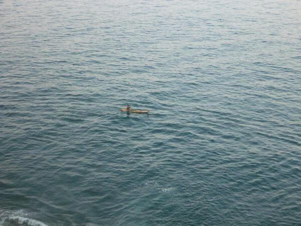 Fisherman On Boat Sea photo