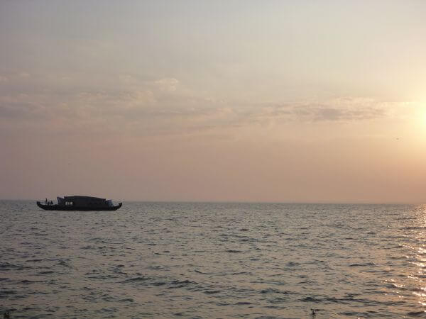Houseboat On Sea Horizon photo
