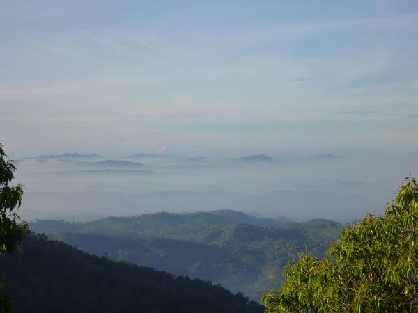 Mountain Region Foggy Blue Sky photo