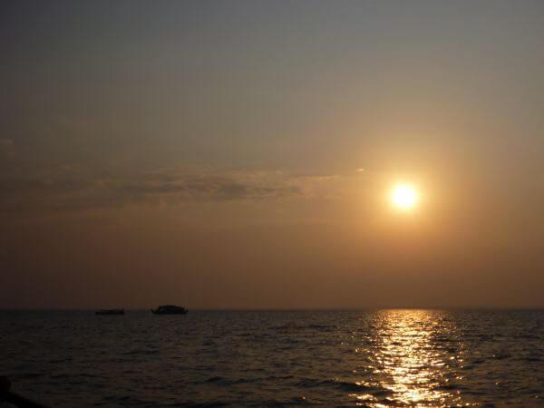 Sea Boats Sunset photo
