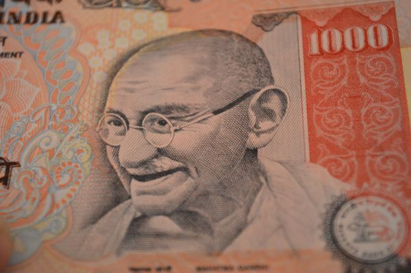 Gandhi Closeup Thousand Rupee Note photo