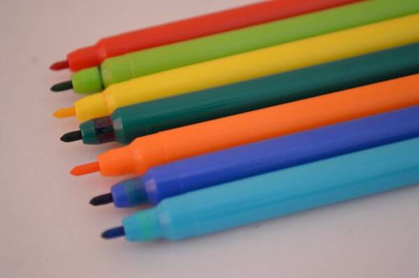 Row Of Colored Sketch Pens photo