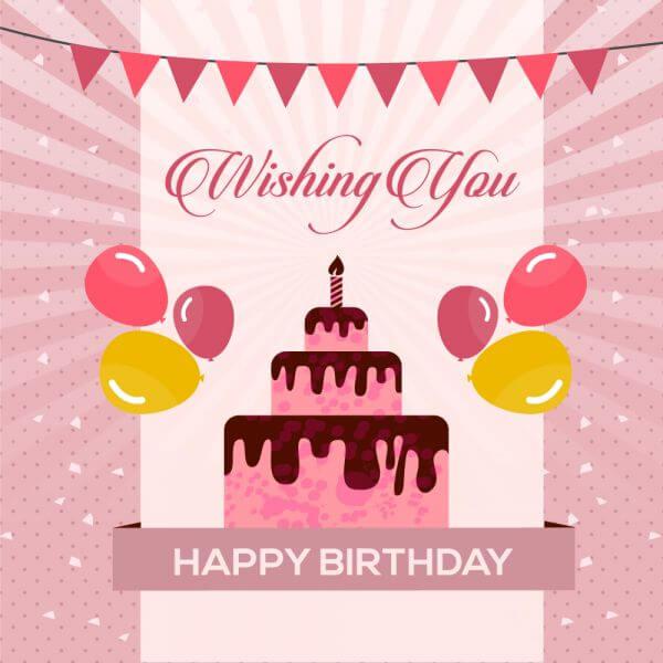 Wishing happy with vector cake vector