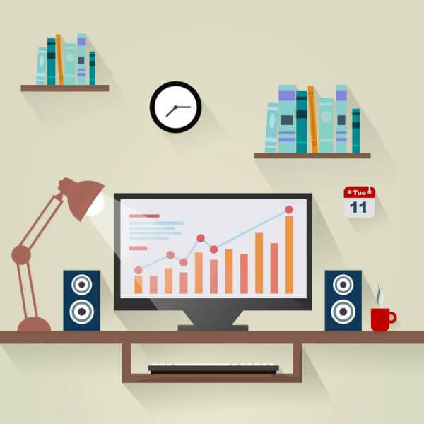 Workplace flat design concept vector