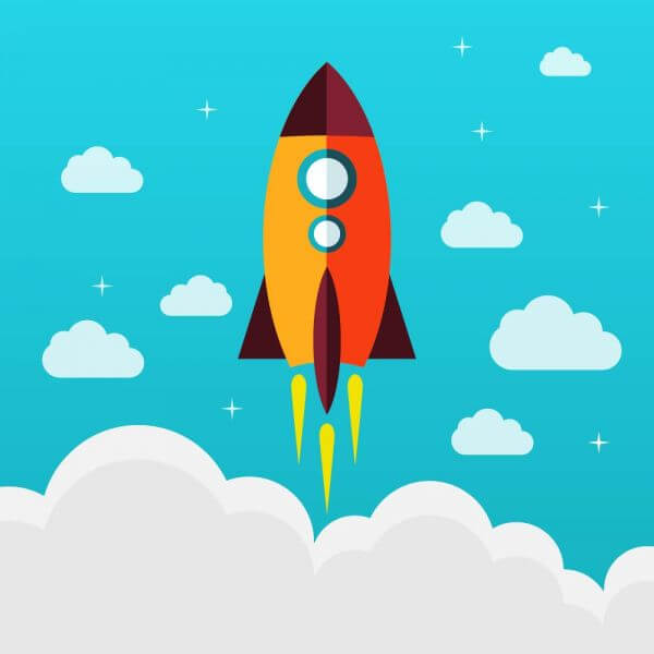 Flying rocket success diagram vector vector