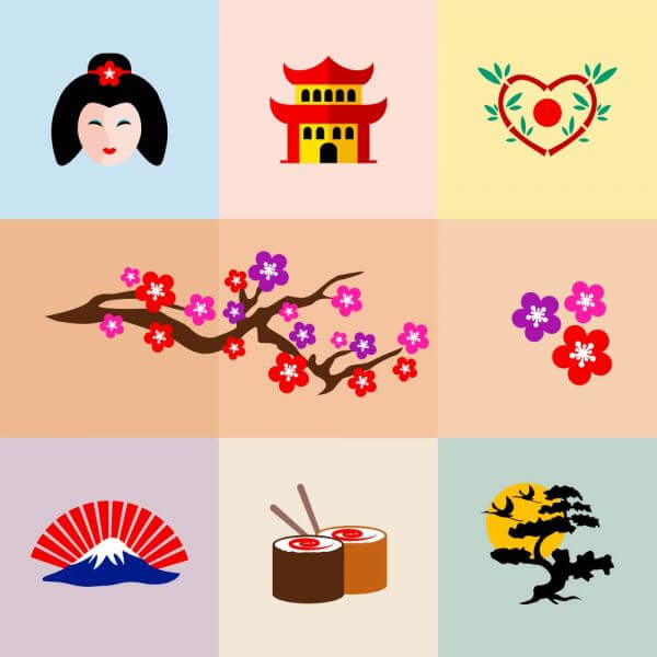 Set of Japanese Icons vector