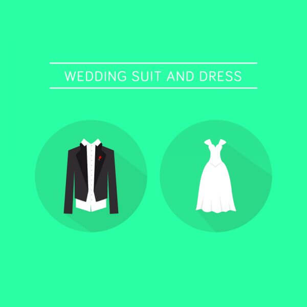 Wedding Dress and a Suit  vector