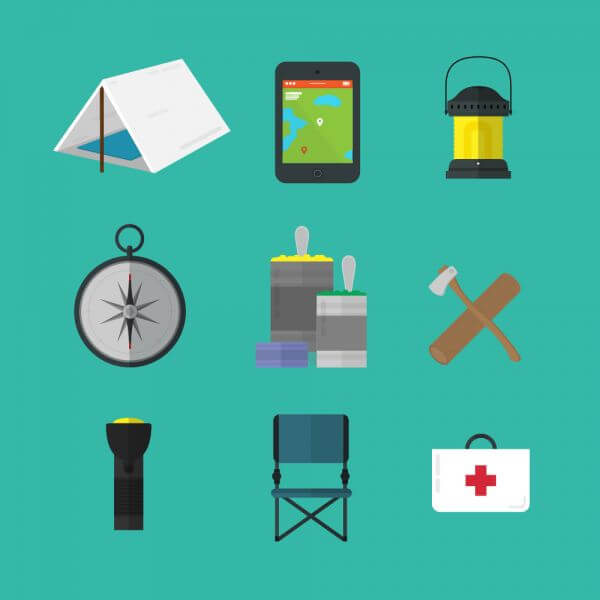 Camping tools icons vector