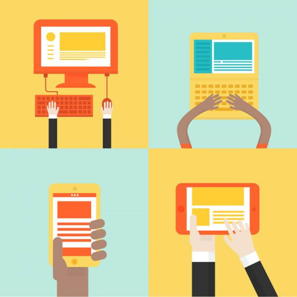 Laptops and mobile device icons vector