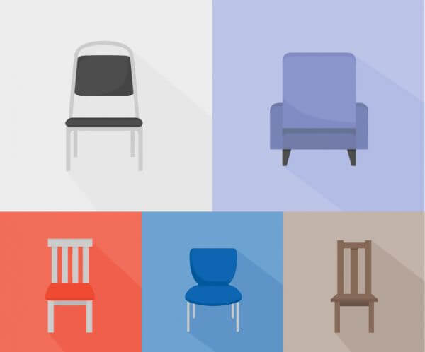 Chairs of different kinds vector