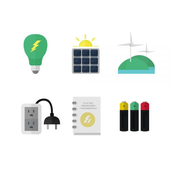 Electricity and clean energy icons vector