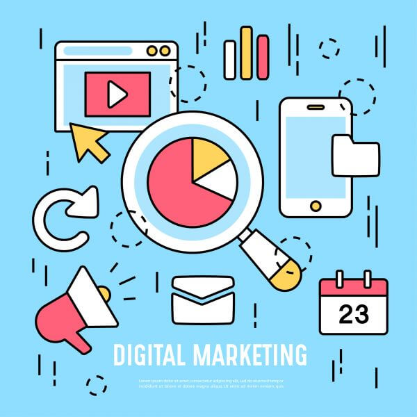 Flat design digital marketing web elements vector