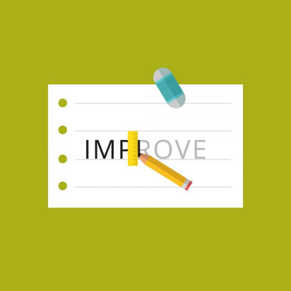 Paper with the word improve being written vector