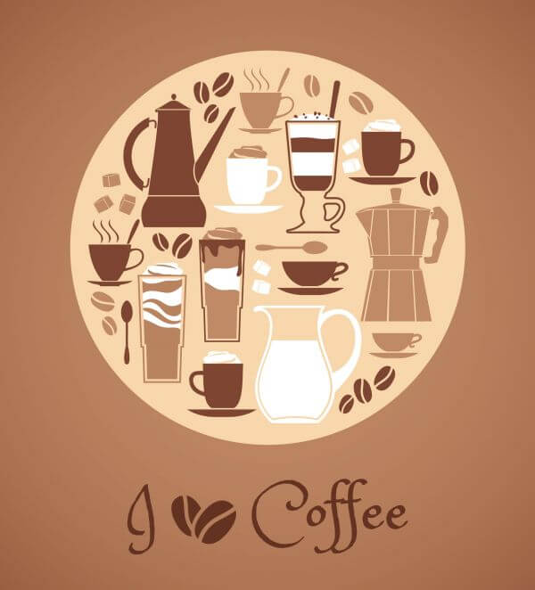 Vector illustration of coffee design elements. vector