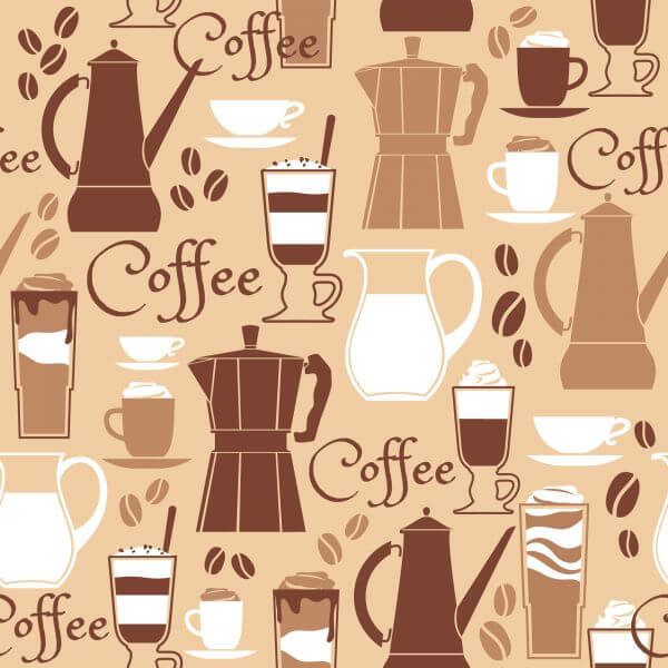 Vector illustration of coffee design elements. Seamless pattern vector