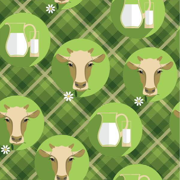 Vector flat design illustration of cow. Seamless pattern vector
