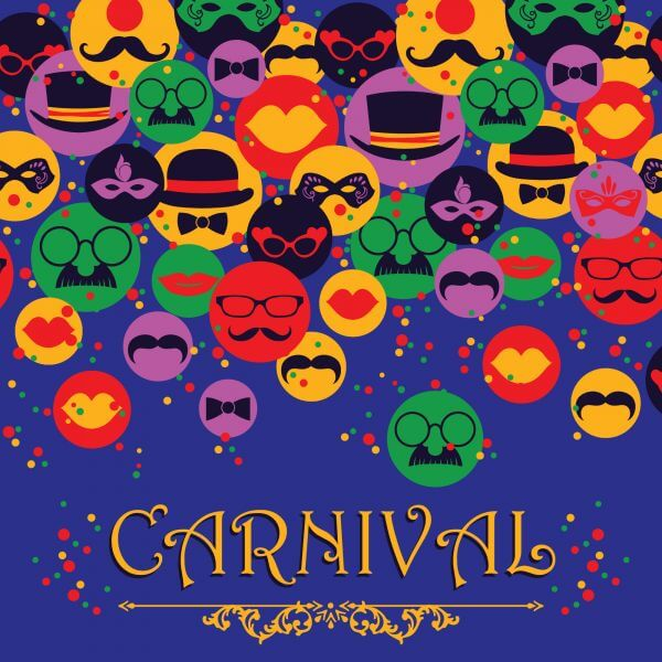 Celebration festive background with carnival icons and objects. Vector illustration vector