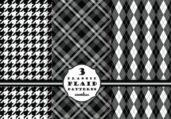 Set of classic plaid patterns vector