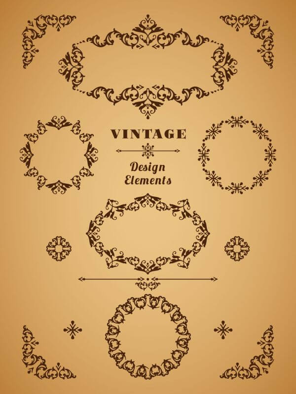Set of Retro Vintage Badges, Frames, Labels and Borders. Design elements.  vector
