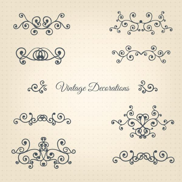 Vintage Vector Decorations Set vector