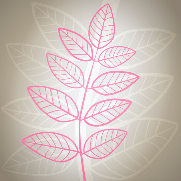 Vector illustration Pink leaves on gray background vector