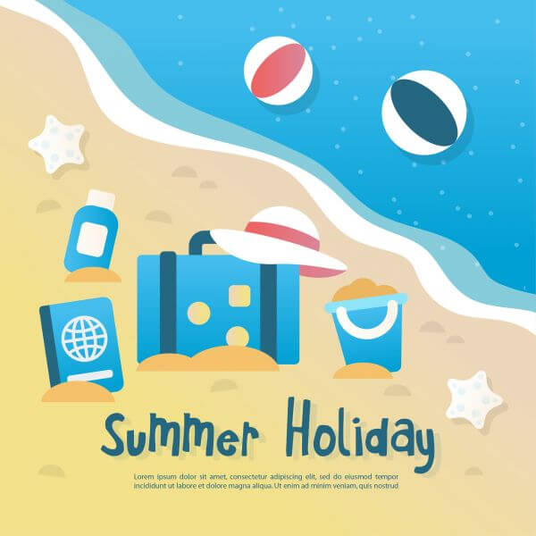 Summer background illustration with elements  vector