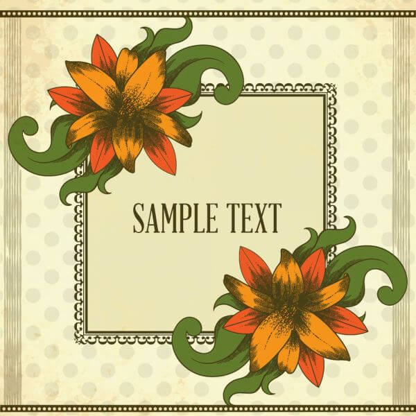 Vintage illustration with vintage flowers and frame vector