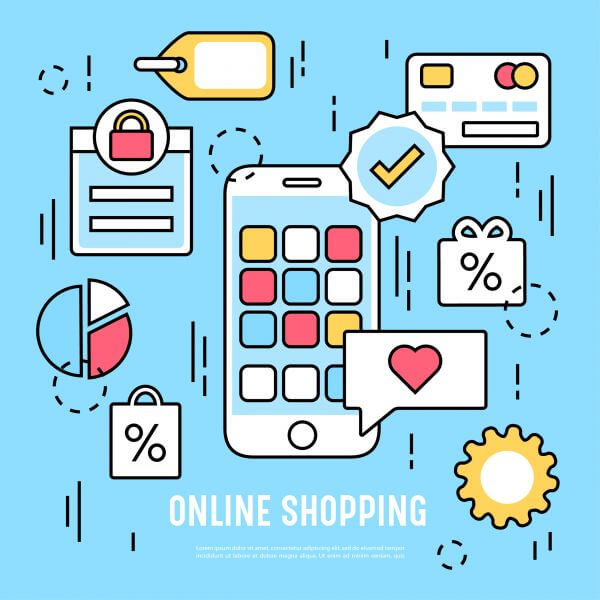 Vector elements and icons for online shopping vector