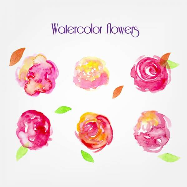 Watercolor vector flowers vector
