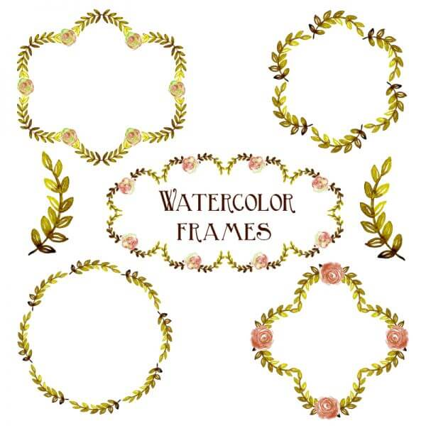 Watercolor vector set with frames  vector