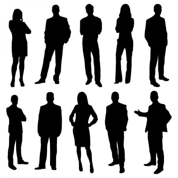 Office business people silhouettes vector
