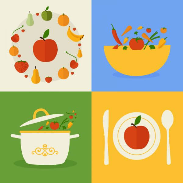 Food flat design concept icons  vector