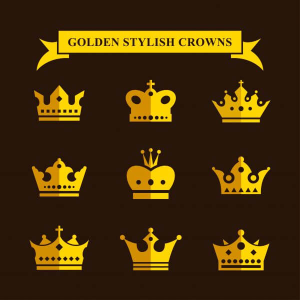 Golden Stylish Crowns vector