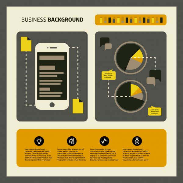 Set of business working elements for digital marketing vector
