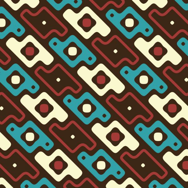 Abstract Red, Blue, and Cream Pattern vector