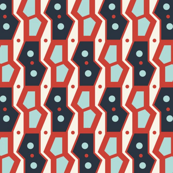 Retro Geometric Blue and Red Pattern vector