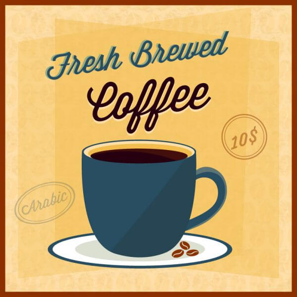 Coffee illustration with coffee cup vector