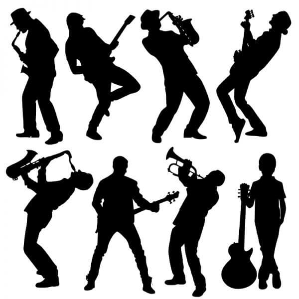 Silhouette of musician people vector