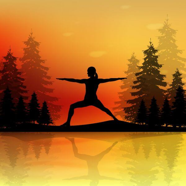 Yoga pose at sunset vector