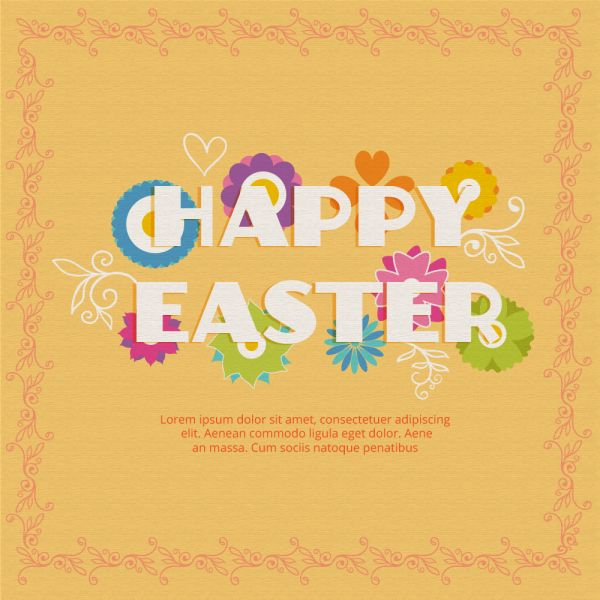 Easter illustration with flowers vector
